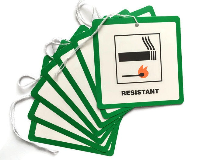 Image of DL7 Fire Resistant Fire Retardant Swing Tickets Tags Labels Furniture Upholstery Carelessness Causes Fire