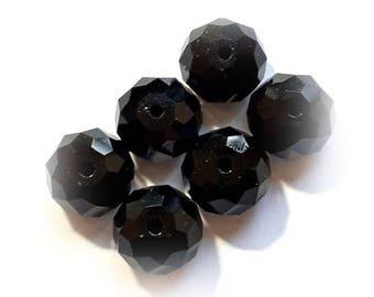 Swarovski Crystal Beads 6 Pcs 5040 JET BLACK Faceted Rondelle (Briolette/Donut) Spacer Bead  -  Sizes 6mm & 8mm available