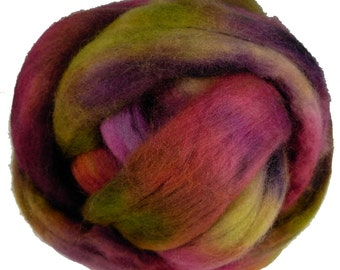 Hand Dyed Corriedale Wool Roving, 'Briar Patch' Colorway, for spinning or felting
