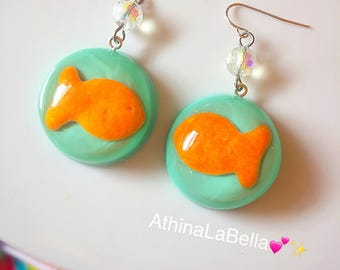 Kawaii Goldfish Cracker Bubble Earrings, Kitsch Goldfish Earrings, Resin Jewelry, Carnival Jewelry, Junk food Jewelry, Fish Bowl Earrings