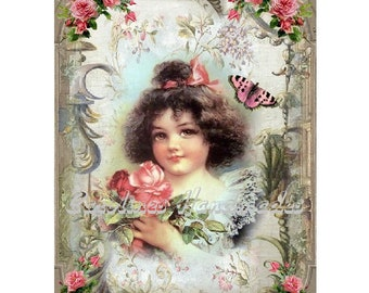 "Victorian Girl & Roses Collage Cotton Fabric Quilt Block (1) @ 5X7"" on 8.5X11"" Sheet"