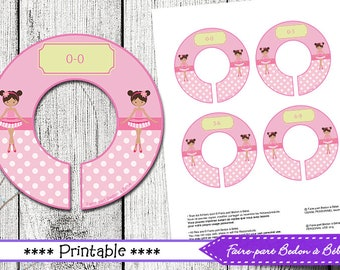 Printable baby closet dividers - nursery clothes dividers - Ballerina baby shower gift - instant download - baby closet organization