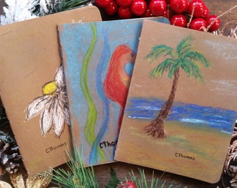 Pack of 3 blank notebooks / journals (small), cardboard covers, 32 pages, rounded corners, cotton sheets, stitched spine, sketching/writing