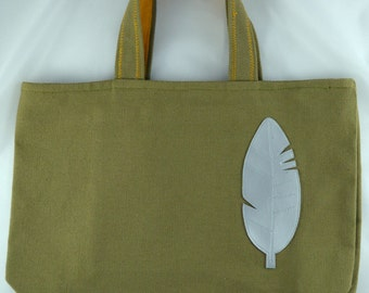 Feather faux leather and khaki canvas bag
