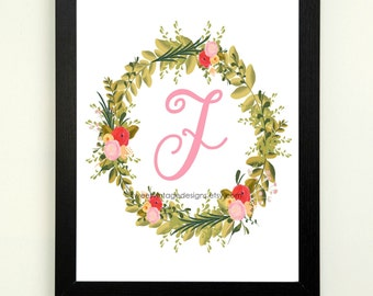 Letter F Printable, 8x10 Instant Download, Baby Girl Nursery Art, Nursery Decor, Floral Monogram, Letter Art, Baby Gift, Baby Shower Gift