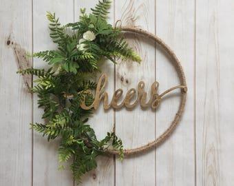 Cheers hoop wreath, cheers floral hoop wreath, twine floral cheers wreath, twine hoop wreath