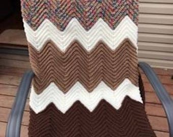 Crocheted afghan-Ripple afghan-56x70/fall brown,tans, Variegated,queen size afghan/homemade/great shower gift