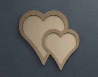 Frame Kit, Double Heart, Wood Frame, Picture Frame, DIY