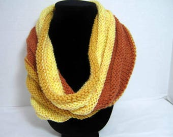 Butterscotch Knitted Cowl Scarf in Acrylic Yarn, Yellow Brown, Gold Neck Cowl Scarf