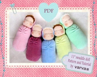 "DIY, PDF sewing pattern and tutorial of a 11"" (27 cm) waldorf swaddle sleeping doll."