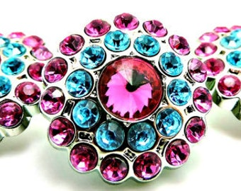 HOT PINK & TURQUOISE Rhinestone Buttons Acrylic Rhinestone Buttons Garment Buttons Coat Buttons Sewing Buttons 24mm 3190 24 25 24R