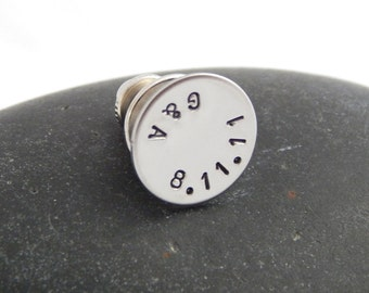 Personalized Tie Tack Custom Tie Pin Wedding Groom's Gift Best Man's Groomsmen Anniversary Custom Pin - Initials & Date