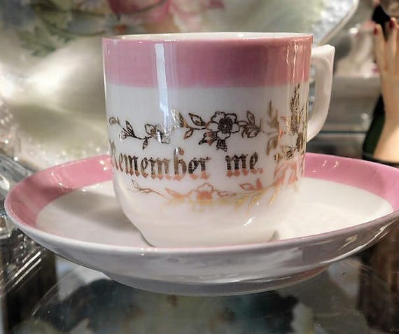 Remember Me Demitasse  / Cup Saucer  /Pink Lustre Lusterware / Made in Germany  / Porcelain