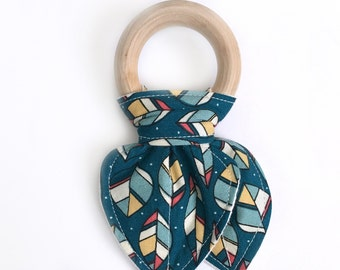 Bunny ear wood ring teether - teal leaves - ring teether - organic cotton; baby teether; baby teething ring; organic wood baby teether
