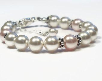 Baby Bracelet, Pearl Bracelet, Baby Girl Jewelry, Baby Shower Gift, Flower Girl Bracelet, Christening Bracelet, First Communion Bracelet B76