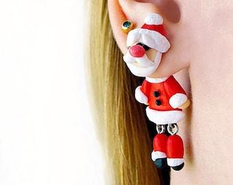 Santa earrings Christmas dangling earrings Xmas double side earrings clinging earrings Personalized gift idea Red earrings Jewelry for teens