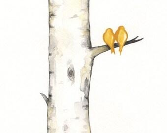 Yellow Birch Tree Love No. 3,  Love Birds, Birch Tree, Romance, watercolor print, gray, black and white and yellow / Archival