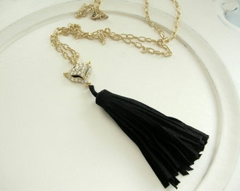 Tally Ho Crystal Fox and Black Suede Tassel on Gold Plated Link Chain Necklace