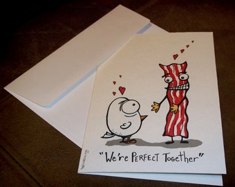 Valentine's Day Romantic Love Card Bacon and Eggs  5x7 Greeting Card Blank inside by Agorables