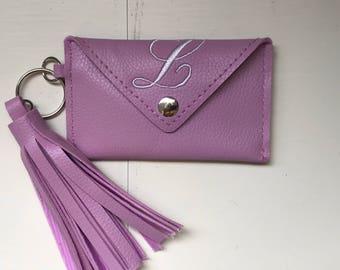 Tassel Key Chain with ID and Card purse/ tassel key chain/ ID and Card key chain /Monogrammed tassel key chain
