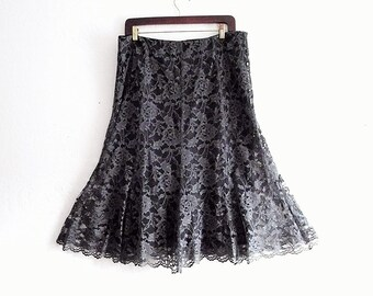 Charcol Lace Gored Skirt