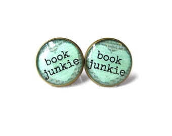 Mint Book Junkie Book Page Earrings, Book Jewelry, Nerdy Jewelry Gifts, Book Quote Jewelry, Book Page Jewelry, Typographic Book Earrings
