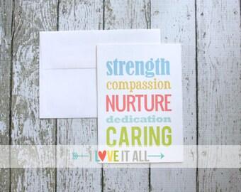 Friendship Greeting Card . Teacher Health Care Giver Caregiver Doctor Nurse Nursing Mother of the Bride . Caring Compassion Nurture Strength