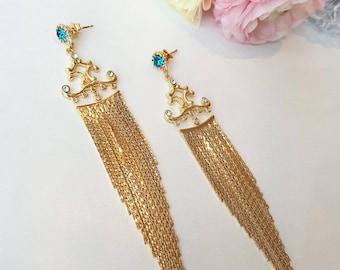 Long Chain Earrings, Chain Tassel Earrings, drop Earrings