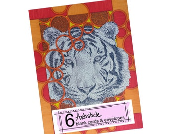 Tiger Note Cards, Wildlife Stationery, Pack of Cards, Blank Thank Yous, Orange Yellow, Wild Animal, Zoo Kingdom, Big Cat Cards, Safari
