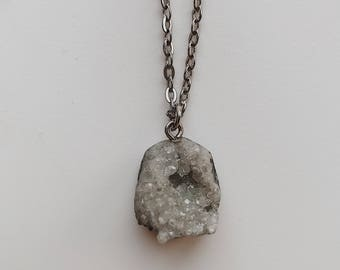 LYDIA Collection Grey Crystal Silver Chain Necklace