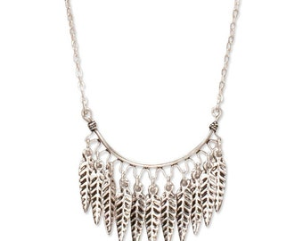 Feather Fringe Necklace   Silver