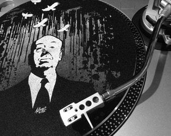 Alfred Hitchcock LP Slipmat - Hand Printed Felt Turntable Mat