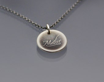 Mother Necklace, tiny silver handwritten necklace, cursive necklace, calligraphy necklace