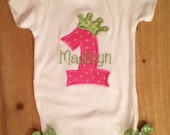 Pink and Green 1st Birthday Princess Baby Bodysuit