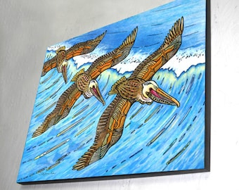 Wings over Waves, Wood Wall Panel, Ready to Hang