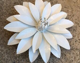 White Enamel Daisy Brooch