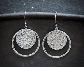 Silver Earrings, Silver Drops, Round Earrings, Hammered Silver, Beaten Silver, Modern Earrings, Textured Silver, Sterling Silver