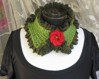 Doubled side ruffles neckwarmer with red knitted flower
