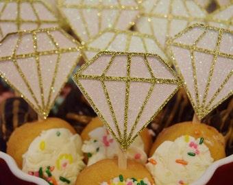 Gold Glitter Diamond Ring Cupcake Topper ; Donut Topper ; Gold Engagement Ring Cake Decor ; Bridal Shower Cupcake Toppers