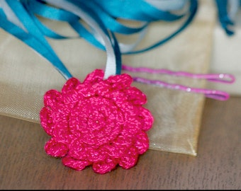 Silk Ribbon & Flower Necklace/ Hairband / Bow, Irish Crochet Fuchsia Pink Mum w/ Ocean Blues Ribbons