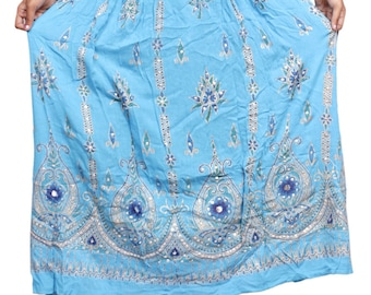 Indian-Women-Skirt-Boho-Belly-Dance-Hippie-Gypsy-Rayon-Maxi-Embroidered-Skirts Boho Hippie Embroidered work (Free Size) women Sky Blue skirt