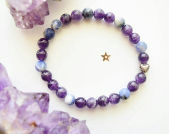 Queen of Hearts sodalite and amethyst bracelet