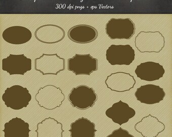 Vintage Frames 32 Piece Pack - 8 Tag Designs in 3 Variations - PNG Files & EPS Vectors - Digital Scrapbook Journal Vector Clip Art Elements