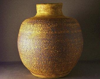 Rustic Ancient Looking Crackled Stoneware Vase or Jug