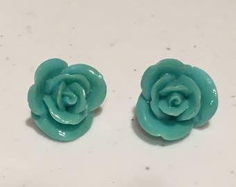 20MM Light Blue Retro Rose Stud Earrings