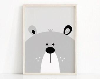 Bear Print, Digital Download Nursery Print, Bear Nursery Art, Printable Kids Art, Kids Print, Grey Nursery Decor, Baby Animal Print Download