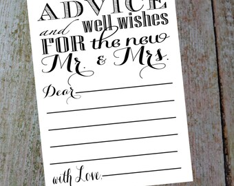 Advice and Well Wishes for the new Mr. & Mrs., comes with a 4 X 6 and 5 X 7 in. cards. Instant Download, Wedding Card DIY Printable File.
