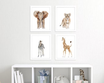 Baby Animal Print Set - Safari Nursery Prints - Nursery Art - Safari Animal Prints - Elephant - Giraffe - Lion - Zebra - Animal Nursery Art