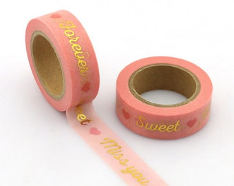 Washi tape pink and gold - pretty masking tape deco wedding invitation, packaging, scrapbooking...