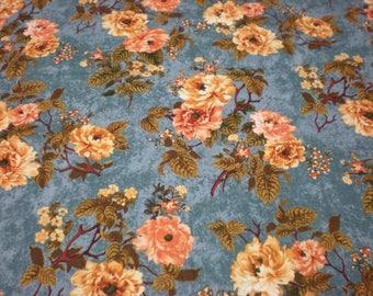 Quilting cotton blue-green, orange flower 1 Yard Fabric